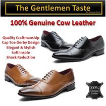 100% Genuine Cow Leather Men Shoes/ shock Absorbent Insole/ Impeccable Workman/ Cap Toe Debry