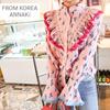 韓国のファッション/サボテンプリント手術ブラウス/フリンジ/小売/フリル
