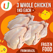 Qoo10 Support [Free Shipping ]U-Market Frozen 3  Whole Chicken from Brazil - Total 3KG