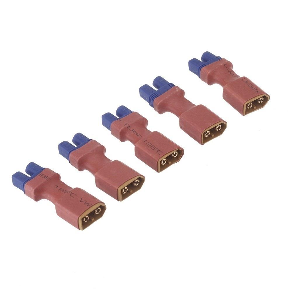 【クリックで詳細表示】5個のLiイオン電池変換アダプタXT60女性ジャックEC3男性プラグへ