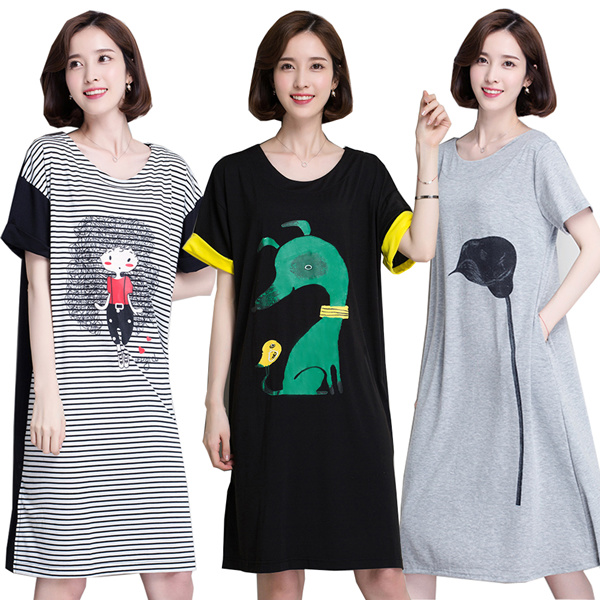 casual tee dress/ Plus size/Loose Fashion T-shirt*/Short-sleeved T-shirt/tops/dress/cotton Deals for only S$46 instead of S$0