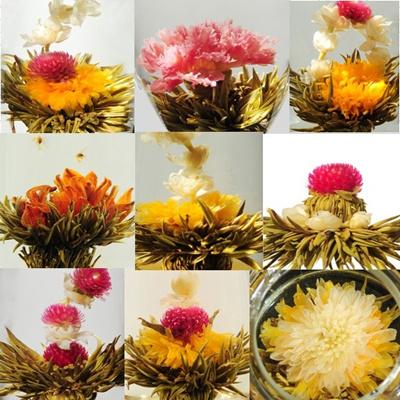 誕生日 内祝い お中元 工芸茶16種とガラスのティーポット ギフト 優雅セット 送料無料目の前で花を咲かせるサプライズギフト。16種類の花が咲く工芸茶16種類(全16個)、耐熱ガラス鉉壺1個(容量360ml)をセットしました。※ガラスは透明無色になります.の画像
