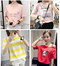 Women Top Dress Casual Girls T-shirts Dress women Cartoon long Short  Sleeve Plus Size