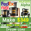 HUROM ALPHA Slow Juicer / H-AA-LBF17 / H-AA-BBF17 / Juicer / Slow Speed Juicer / Juice Maker / Juice