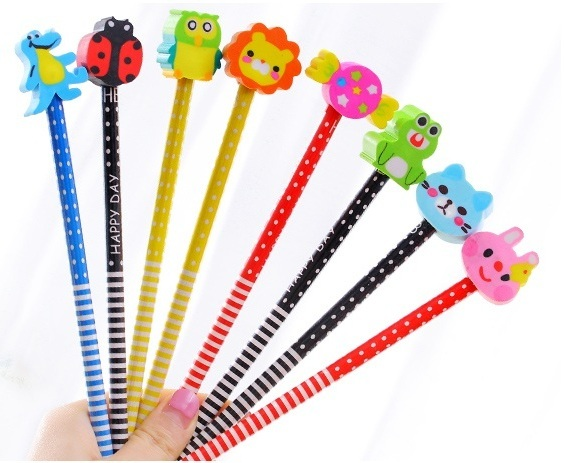 Cartoon Pencil with Eraser/ Goodie Bag/ Children day gift/ Cute Kids Present Deals for only S$1 instead of S$0