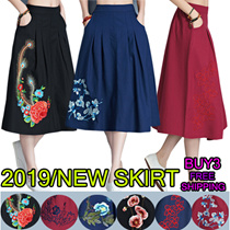 2019/New National Style Womens Dress Skirt Chinese Style Retro Embroidery Half-length Skirt.