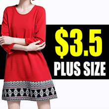 【Oct 19th】[Super price $3.5 ] S-6XL NEW PLUS SIZE FASHION LADY DRESSS
