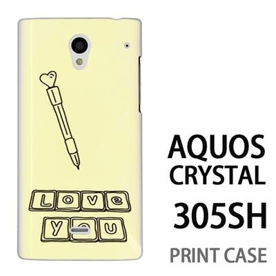 AQUOS CRYSTAL 305SH 用『0829 Love You 黄』特殊印刷ケース【 aquos crystal 305sh アクオス クリスタル アクオスクリスタル softbank ケース プリント カバー スマホケース スマホカバー 】の画像