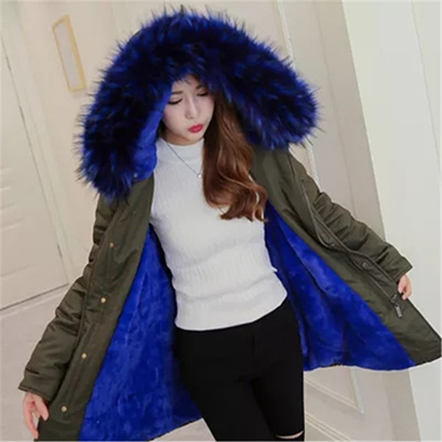 超防寒軽い襟ファーダウンジャケットダウンコート韓国ファッションダウンジャケットロング中綿コートミリタリーコート大きいサイズ防寒・防風・冬コートロングコートファー取外でき