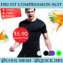 [$5.90 SUPER SALE] DRI FIT COMPRESSION SUIT / SPORT WEAR CORE FITTED VEST SHIRT TIGHTS COOL MESH / QUICK DRY FOR TRAINING / CYCLING / GYM / RUNNING / JOGGING