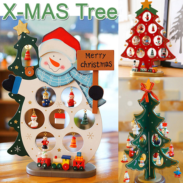 Buy Christmas Trees With Decorations Music Box Nordic Wooden Snowman Home Table Deco Ornament X