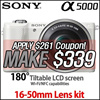[MAKE $339!] SONY a5000 Mirrorless Camera with 1650mm lens / •Wi-Fi® connectivity to NFC