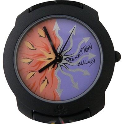 【デッドストック】BENETTON/BULOVA オレンジ/パープル 腕時計の画像