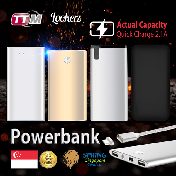 [ACTUAL CAPACITY] ?LOOKERZ ULTRA SLIM POWERBANK |COMPLY WITH SPRING SINGAPORE SAFETY STANDARD| Deals for only S$19.9 instead of S$0