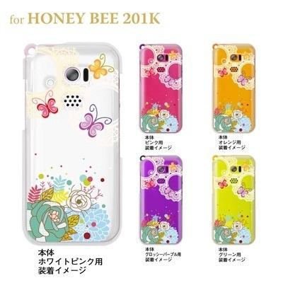 【HONEY BEE 201K】【201K】【Soft Bank】【ケース】【カバー】【スマホケース】【クリアケース】【フラワー】【花と蝶】 22-201k-ca0061の画像