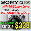 [SUPER DEAL !!]  [3Colors] Sony Alpha Mirrorless A5000 with 16-50mm Lens Digital Camera