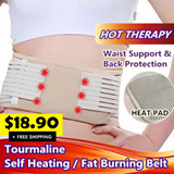 Premium Unisex Tourmaline Self Heating Slimming Waist Wrap Body Shapewear Heat Pad / Fat Burning / Tightness Adjustable / Maternity Postpartum Recovery Belt / Back Pain Solutions