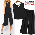 top+pants set!2color [Free-shipping][Kakamee]2015 The Most Fashionable Item In KoreaNew Arrivals Update!/Two-Piece/Flower/Waist banding/Casual/Pleated
