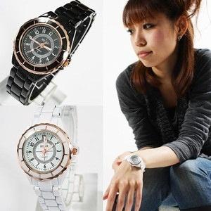 レディース仕様!ピンクゴールド使い モノトーンスタイル腕時計 全2色 白ホワイト 黒ブラック★送料無料!の画像