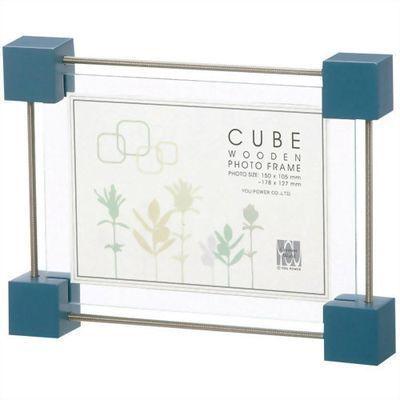 ユーパワーユーパワー木製キューブクリップフォトフレームLCF-01051ヴィンテージブルーE272403H