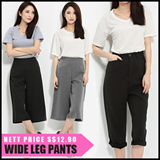 Retro pant waist pants casual pants trousers wide Size S to 3XL