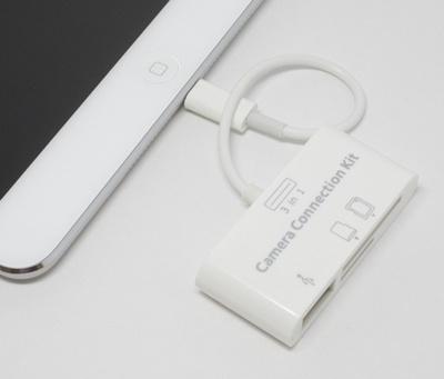 iPad4iPad miniiPad AiriPad mini Retinaに対応★ライトニング3in1カメラコネクションキット★  iPad Mini SDカードの写真や動画を、iPadに簡単転送!(SD/Micro SDカードリー ダー/USBポート)ios7.0.6まで対応の画像