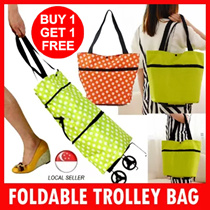 (1 for 1 ) Foldable Trolley Bag Portable Shopping Cart Tote Bag with Wheel Handheld bag / Shoulder Bag / Wheels bag / Best Present and gifts for Christmas Birthday Corporate Church Door Gift