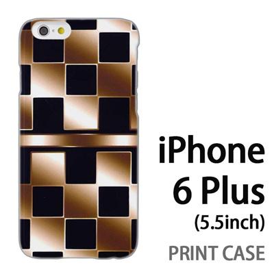 iPhone6 Plus (5.5インチ) 用『No3 市松柄金黒』特殊印刷ケース【 iphone6 plus iphone アイフォン アイフォン6 プラス au docomo softbank Apple ケース プリント カバー スマホケース スマホカバー 】の画像