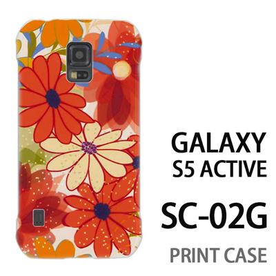 GALAXY S5 Active SC-02G 用『0906 カラフルフラワー 白』特殊印刷ケース【 galaxy s5 active SC-02G sc02g SC02G galaxys5 ギャラクシー ギャラクシーs5 アクティブ docomo ケース プリント カバー スマホケース スマホカバー】の画像