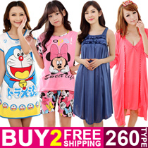 New Arrival! Buy 2 Free Shipping! Cute Cartoon Sleepwear Women Silk Pajamas Dress Short Sleeve Sleepwear Cotton Nightdress 【M18】