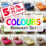 {Great SG Sale}[Colours Bedsheet Set]100% Cotton/Fitted Bedsheet/23 Colours Available/Anti-pilling/Anti-balling/420 Thread Count/ extremely soft and breathable
