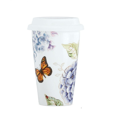 Qoo Lenox Butterfly Meadow Blue Thermal Travel Mug Kitchen