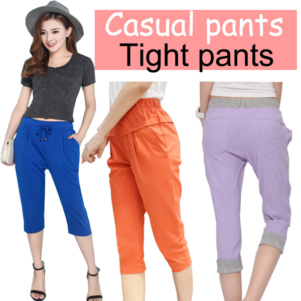 ?6/30 update?Womens Casual Harem Pants New Woman Fashion Elastic Waist Loose Linen Capri P Deals for only S$45 instead of S$0