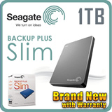 Seagate Backup Plus Slim Potable Drive 1TB 2.5   USB 3.0 (Black / Silver / Blue / Red )