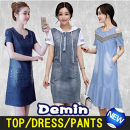 The new spring and summer of 2018 cultivate ones morality fashion denim shirt/pants/dress