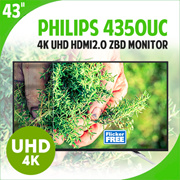 Philips 4350UC 43inch UHD 4K Monitor / Built In Speaker / Game Mode / AH-IPS / Wide 16:9 Ratio Monitor / 3840 X 2160 / HDMI 2.0 ZBD / Flicker Free / 4K UHD / Monitor