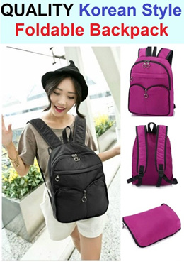 Quality Foldable Backpack / Haversack / Christmas Gift / Korean Style / Light Weight / Soft Texture / Durable / Splash Proof / Portable / Travel / Multi Purpose / Bagpack