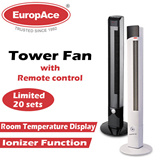 EuropAce 1.1m Tower Fan with Remote / Ionizer Function/ Room Temperature Display/ 8 Hrs Timer/ 1 Yr Warranty