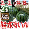 """【送料無料】熊本県産 訳あり """"熊本すいか"""" 2玉14kg~18kg(1玉重量約7~9kg) 2L~3Lサイズ!"""