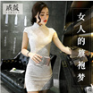 Chinese new improved cheongsam dress summer fashion retro Slim was thin lace dress