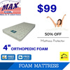 MaxCoil Night Value6 4in Foam Mattress (Single). Free delivery. 50% discount for mattress protector