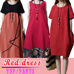 ALL RED collection fashion dresses / blouse / T-shirt / trousers / ethnic style / Retro wind.
