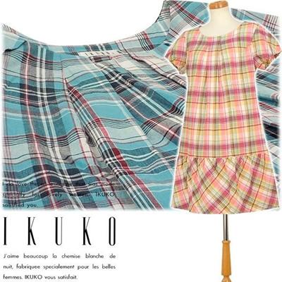 イクコ IKUKO アウター ワンピース インド綿 マドラスチェック 半袖ワンピース VX150Qの画像