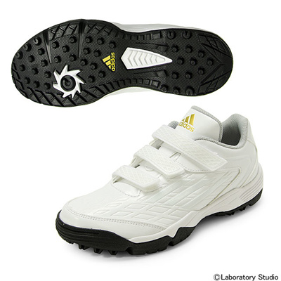 アディダス (adidas) adizeroキッズ JPトレーナー4(ランニングホワイト×クリアオニキス×シルバーメット) C76601 [分類:野球 トレーニングシューズ]の画像