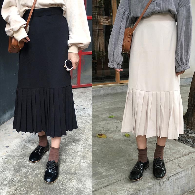 秋のベロアスカート韓国ファッション スカートプリーツスカートワンピースレディーススカート