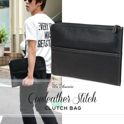 カウレザー ステッチ メンズ レディース クラッチバッグ ビジネスバッグ バッグ バック かばん カバン 鞄 メンズ レディース 男性 女性 通販の画像