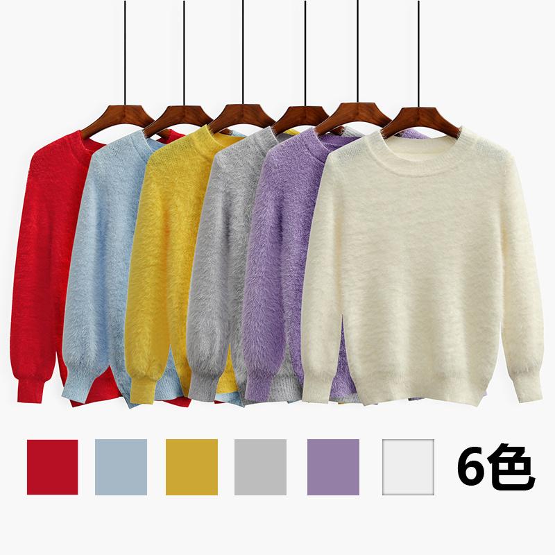 ★限定数量特価★ 今季 韓国ファッション 可愛く人気沸騰の ニット 小風薫るゆったりパフスリーブ セーターモヘアセーター   コートはセーター セーターゆったりセットニット ブラウス レ