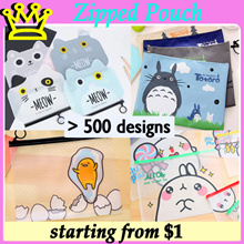Various Cartoon A5 A4 PVC Zipped Pouch File Pouch STATIONERY GOODIE BAG CHRISTMAS CHILDREN DAY GIFT