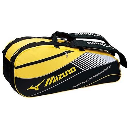 【クリックで詳細表示】◆即納◆ミズノ(MIZUNO) ラケットバッグ 6本入用 Fサイズ 63MD500394 ブラック×イエロー 【テニス エナメルバッグ 遠征用バッグ】
