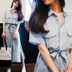 C151【送料無料】S-2XLファッションシャツワンピース 大きいサイズ展開シャツロング 半袖・ウエストリボン締める調節でき・ポケット付き  OL通勤ワンピースマキシロングワンピース